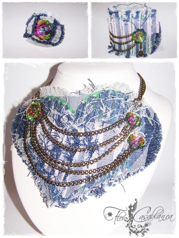 Conjunto Corazón, de la colección Jeans, confeccionado con tela vaquera, botones de cristal
