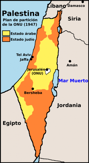 Mapa del Plan de partición de Palestina