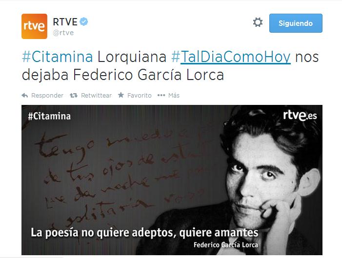 RTVE sobre el aniversario de la muerte de Lorca