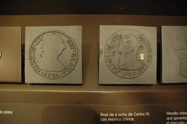 Real de a ocho de Carlos IV con resellos chinos en el MAN