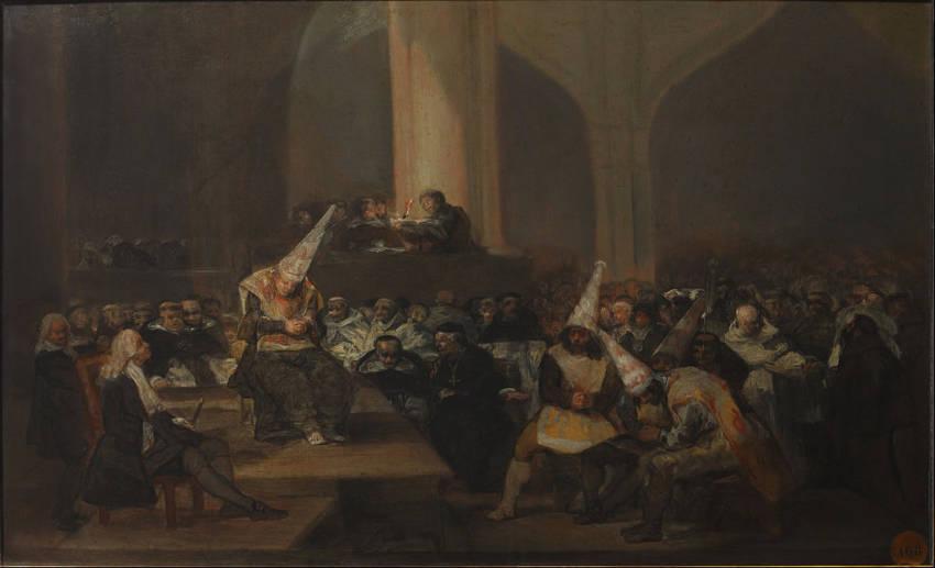 Auto de fe de la Inquisición Francisco de Goya, 1812-1819 Óleo sobre tabla • Romanticismo 46 cm × 73 cm Real Academia de Bellas Artes de San Fernando, Madrid, España