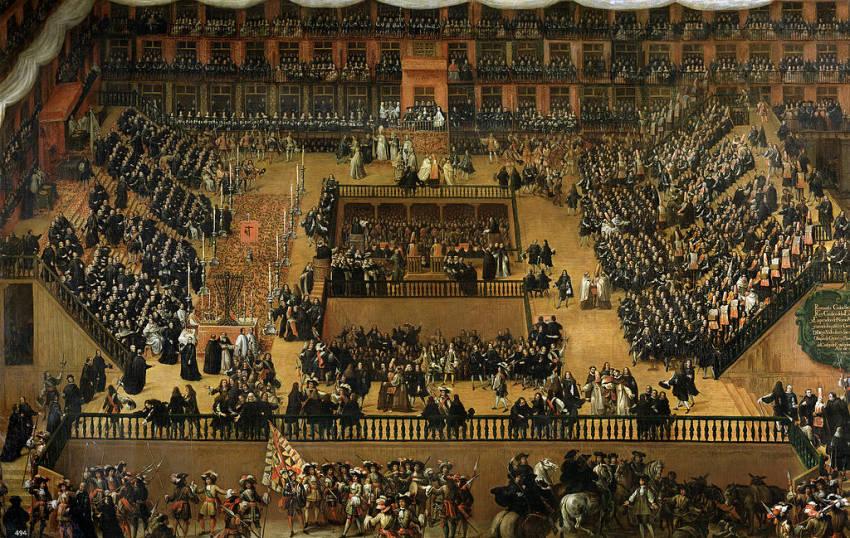 Auto de fe celebrado en la Plaza Mayor en 1680 en presencia de Carlos II. Óleo de Francisco Rizi conservado en el Museo del Prado.