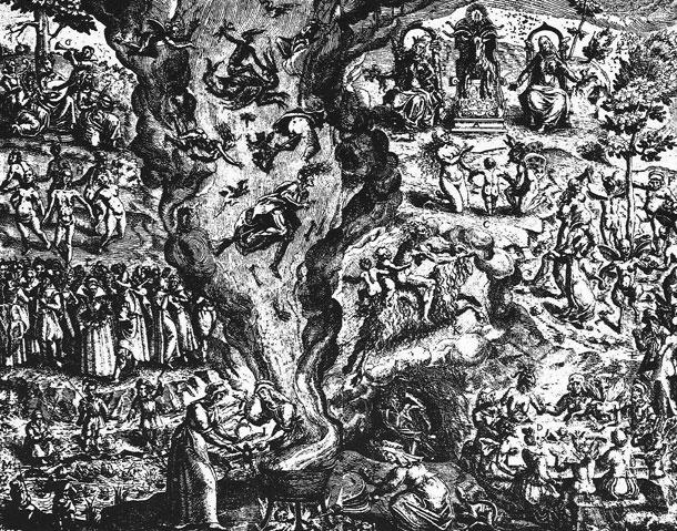 Descripción del sabbat de los brujos, del dibujante Jan Ziarnko, para la obra Tableau de l'inconstance... que escribió el inquisidor Pierre de Lancre tras sus actuaciones en Laburdi a lo largo de cuatro meses de 1609.