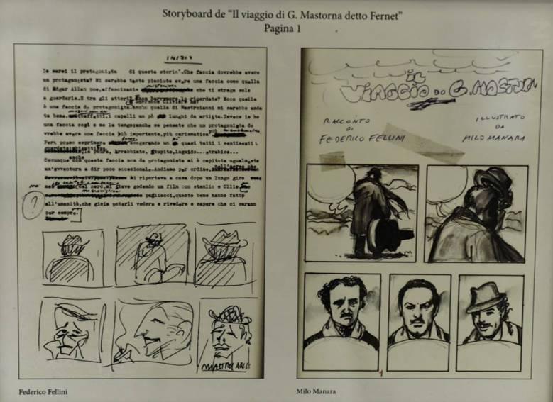 Trazos de Milo Manara para EL VIAJE DE G. MASTORNA de Fellini