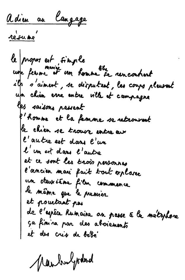 Resumen de 'Adie au langage' escrito por Jean-Luc Godard | Vía: toutlecine.com