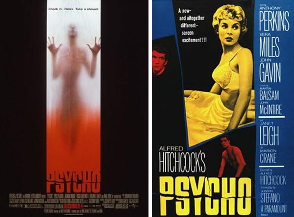 """Carteles originales de """"Psicosis"""" de Gus van Sant (1998) y el remake de Alfred Hitchcock (1960)"""