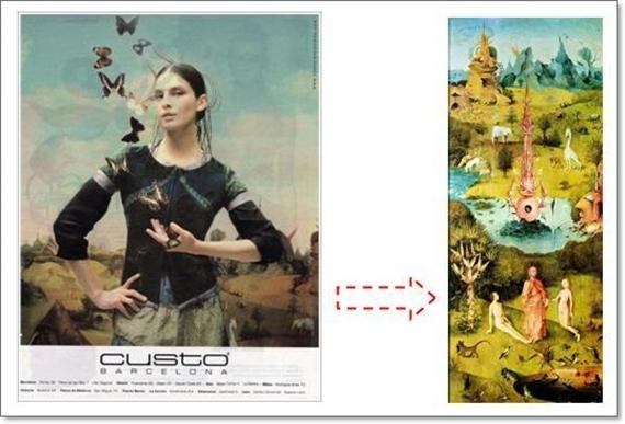 Imagen perteneciente a la campaña publicitaria de Custo basada en la pintura de El Bosco.