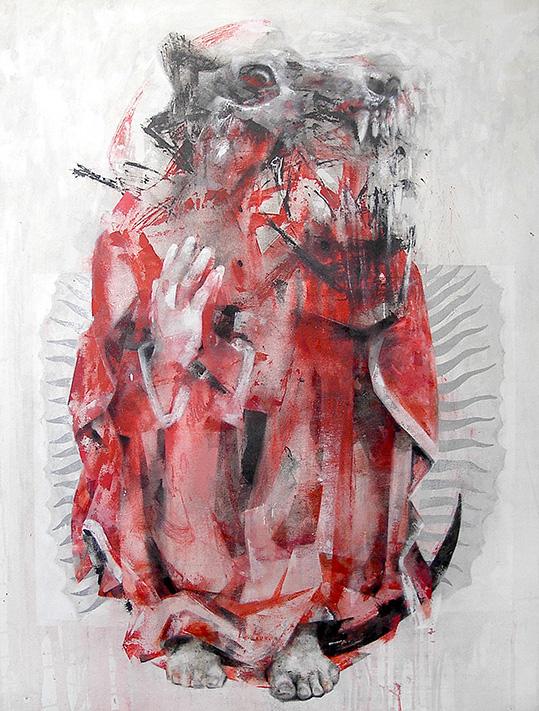 Mater misericordiae, 2012. Acrílico, óleo, tinta y medio alquídico sobre lienzo, 116 x 89 cm.