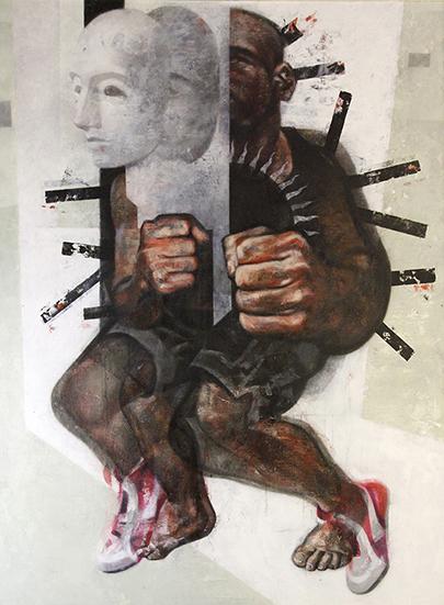 Sombra por parejas, 2014. Acrílico, óleo y medio alquídico sobre lienzo pegado a tabla, 116 x 89 cm.