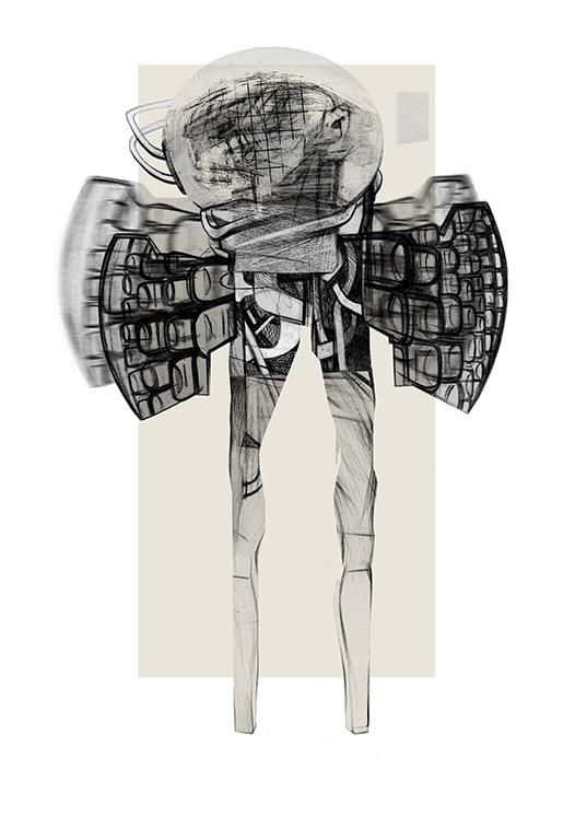 Ángel caído 03, 2014. Collage, retoque digital e impresión sobre papel, 48 x 33 cm.