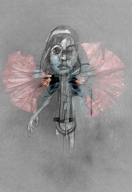 Espantapájaros 03, 2012. Acrílico, lápiz de color, fotografía, retoque digital e impresión sobre papel, 48 x 33 cm.