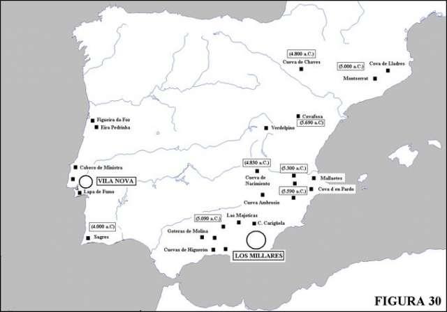 """En la figura 30, estraída de """"Sumerios en Andalucía"""" se indican los yacimientos neolíticos más antiguos de la Península Ibérica. Nótese cómo los sitios más antiguos no están en la región pirenaica sino en las costas levantinas. Al mismo tiempo se incluyen los dos focos metalúrgicos surgidos """"independientes a los de oriente""""."""