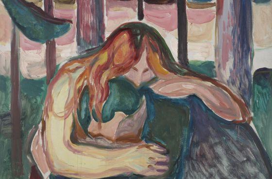 Detalle de 'Mujer vampira en el bosque' (1916-1918), de Evard Munch. / Munch Museum