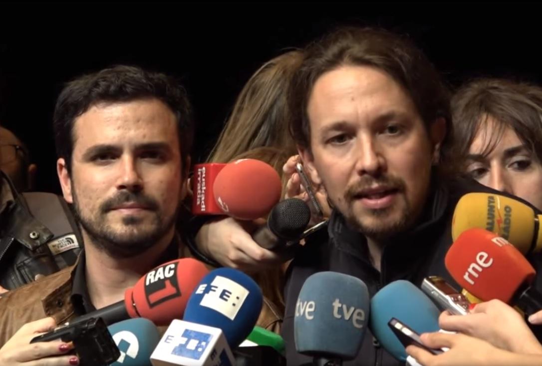 Alberto Garzón y Pablo Iglesias. Wikimedia Commons