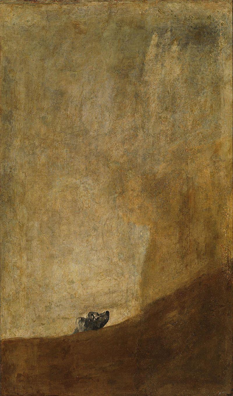 Francisco de Goya, 1819-1823. Perro semihundido. Óleo sobre revoco, trasladado a lienzo (131,5 cm × 79,3 cm)