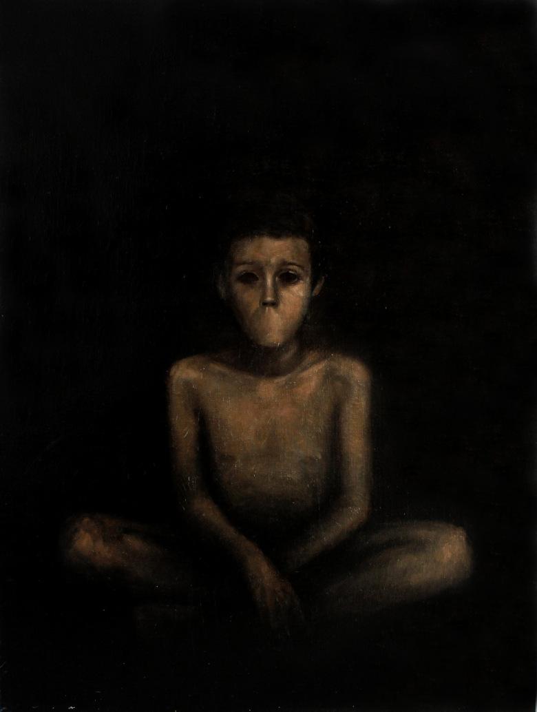 Ver, oir y callar, 2012. Óleo sobre lienzo (130 x 97 cm)
