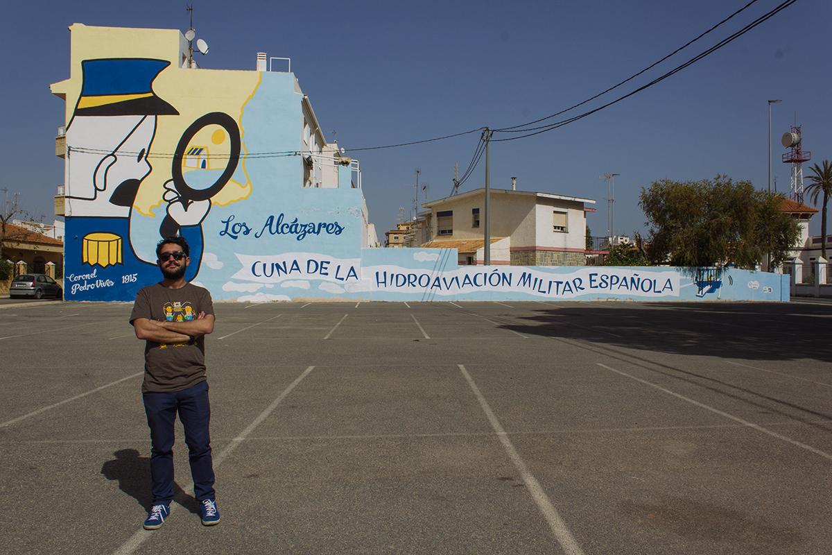 Leo Bódalo. Mural para el centenario de la hidroaviación
