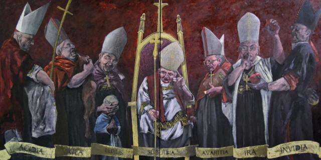 7 pecados capitales. Óleo sobre lienzo 2,40 m x 1,20 m.