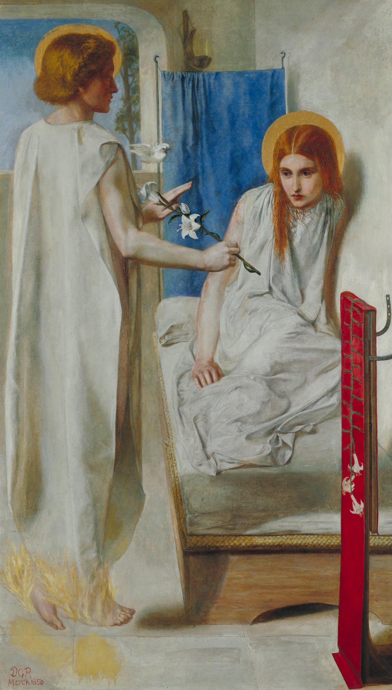 Rossetti, Dante Gabriel (1849). La Anunciación| Vía: Tate Gallery