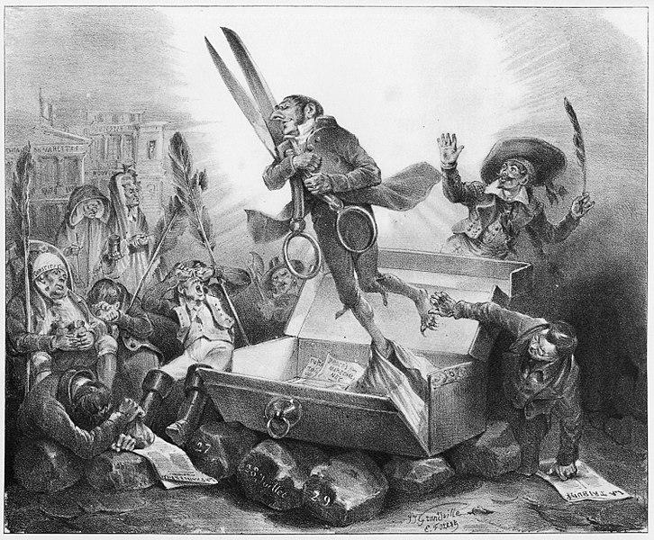 """""""Résurrection de la Censure"""", J. J. Grandville, 1832. Vía Wikimedia Commons."""