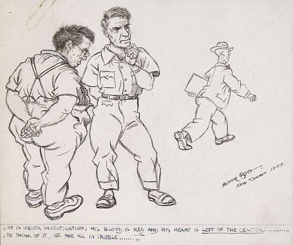 """Sangre roja, corazón a la izquierda: sospechoso"", Arthur Szyk, 1949. Vía Wikimedia Commons."